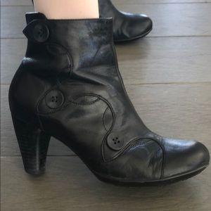 Indigo Black Leather Booties